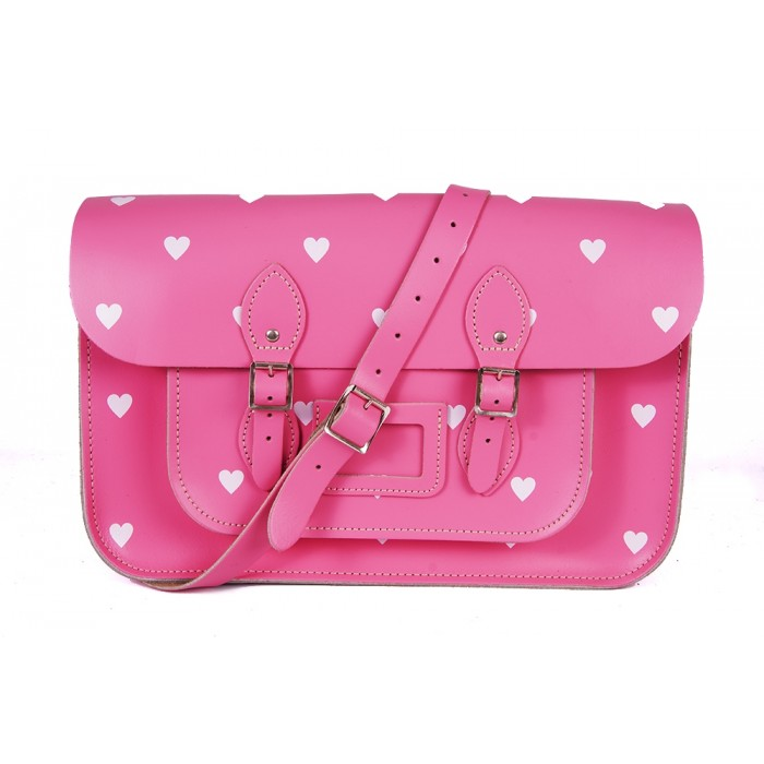 "14.5"" Pink White Heart English Leather Satchel"