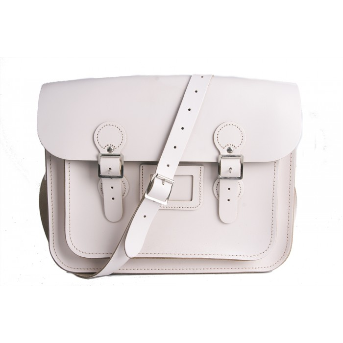 "13"" White English Leather Satchel - Circle"