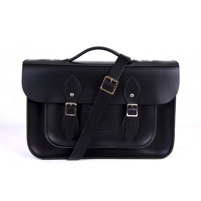 "14"" Black English Leather Satchel Magnetic Briefcase"
