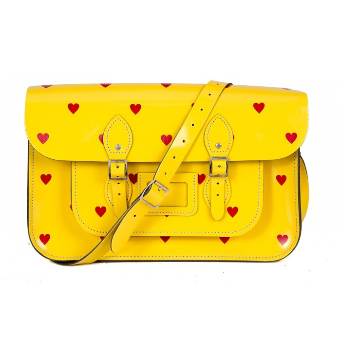 "14.5"" Yellow Red Heart English Leather Satchel"