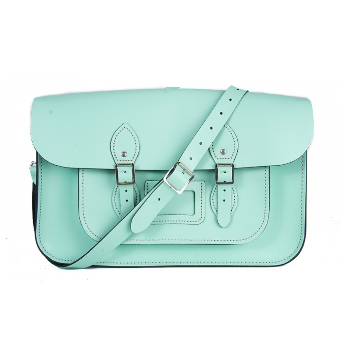 "15"" Mint Blue English Leather Satchel - Backpack"