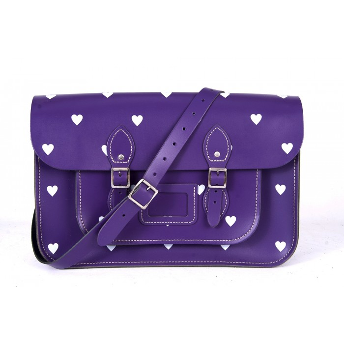 "14.5"" Purple White Heart English Leather Satchel"