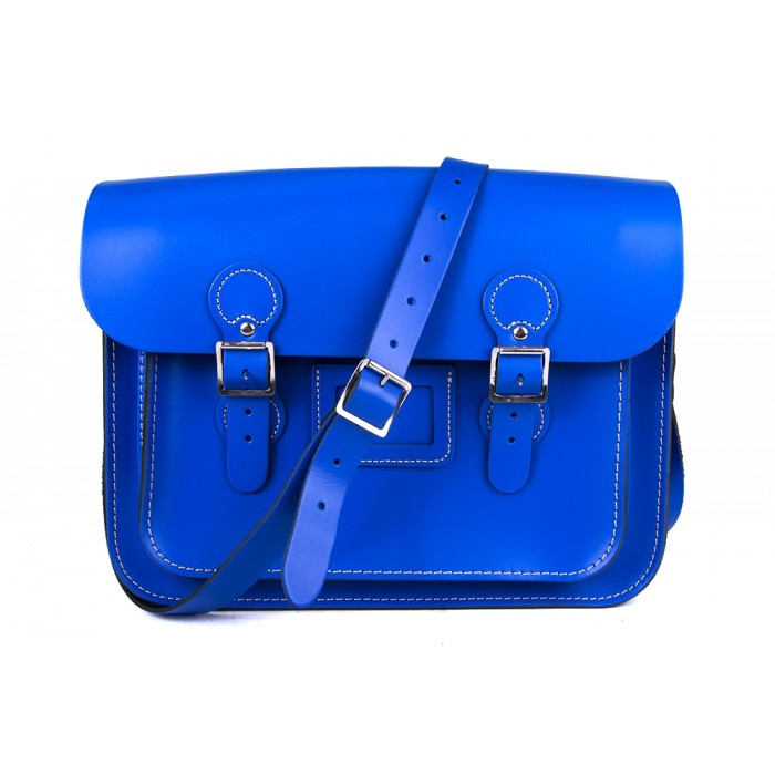 "13"" Blue English Leather Satchel - Circle"