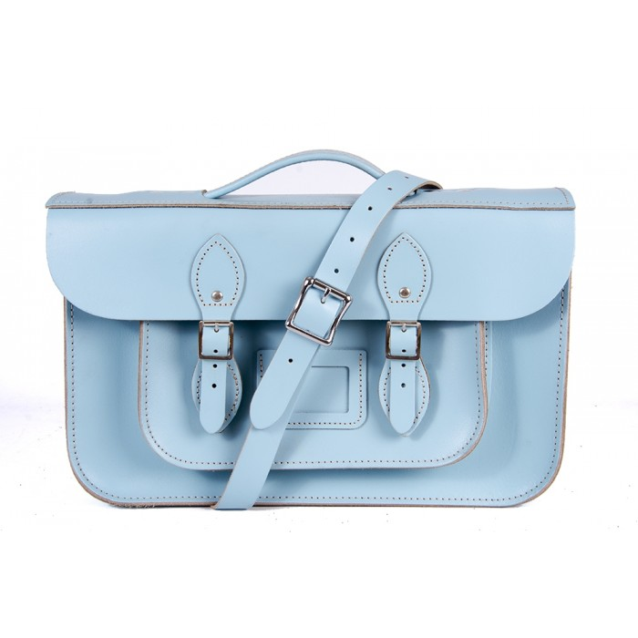 "15"" Baby Blue English Leather Satchel - Magnetic Briefcase"