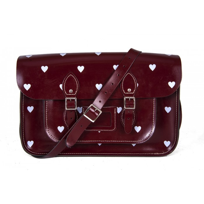 "14.5"" Wine Red Patent White Heart English Leather Satchel"