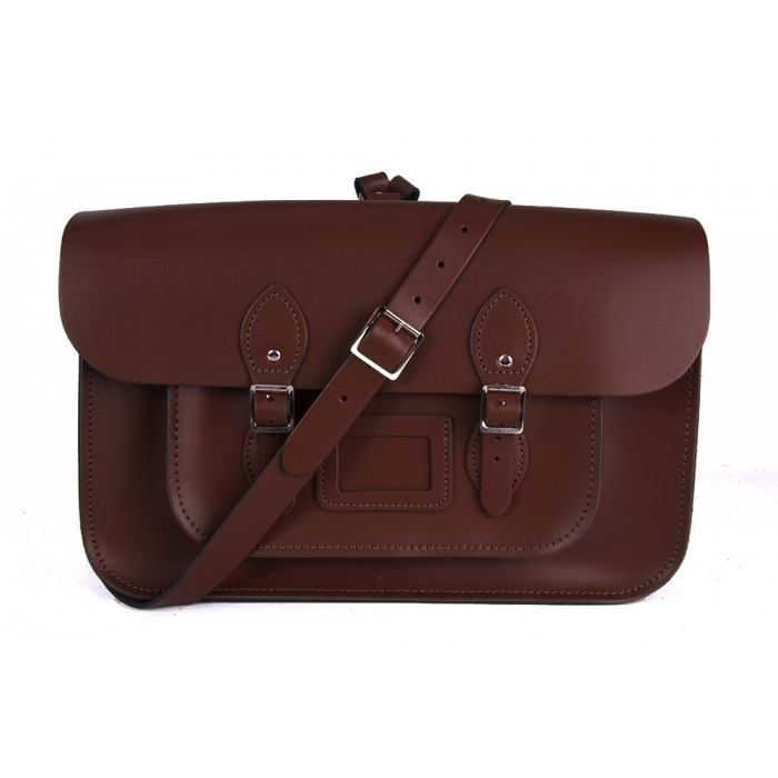 "15"" Brown English Leather Satchel - Backpack"