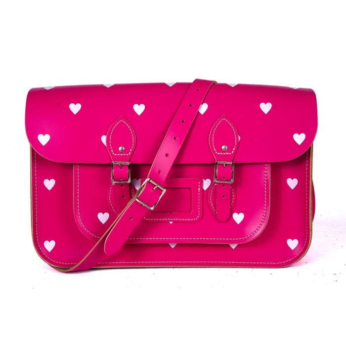 "14.5"" Pink Patent White Heart English Leather Satchel"