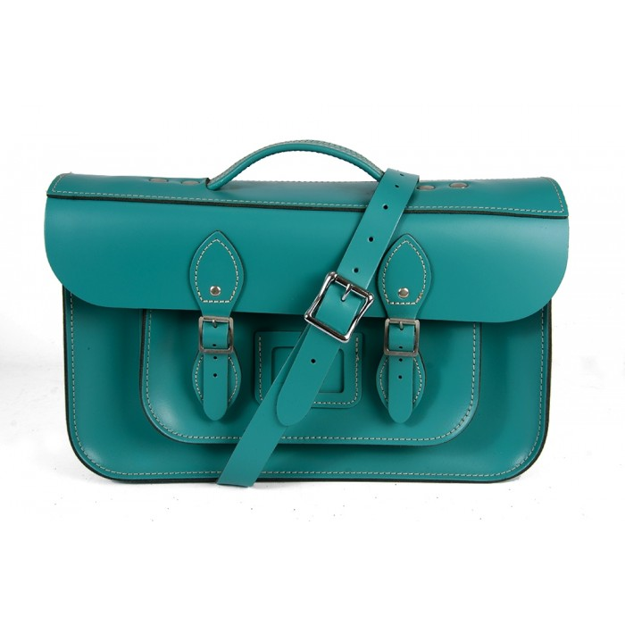 "15"" Cockatoo Blue English Leather Satchel - Magnetic Briefcase"