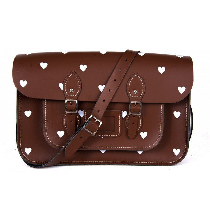 "14.5"" Chestnut Brown White Heart English Leather Satchel"