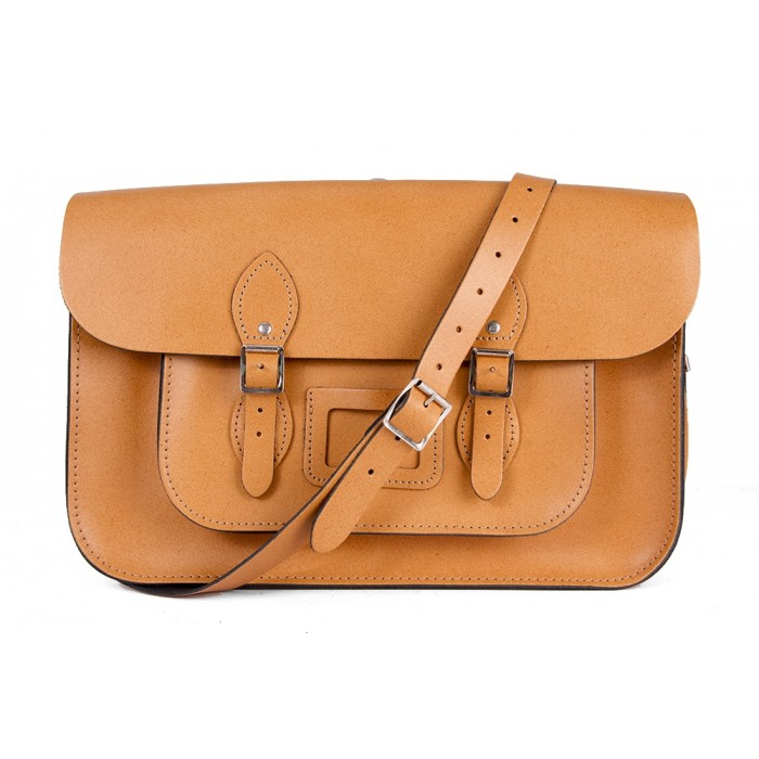 "15"" Tan English Leather Satchel - Backpack"