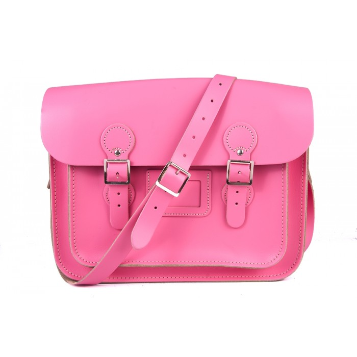 "13"" Pink English Leather Satchel - Circle"