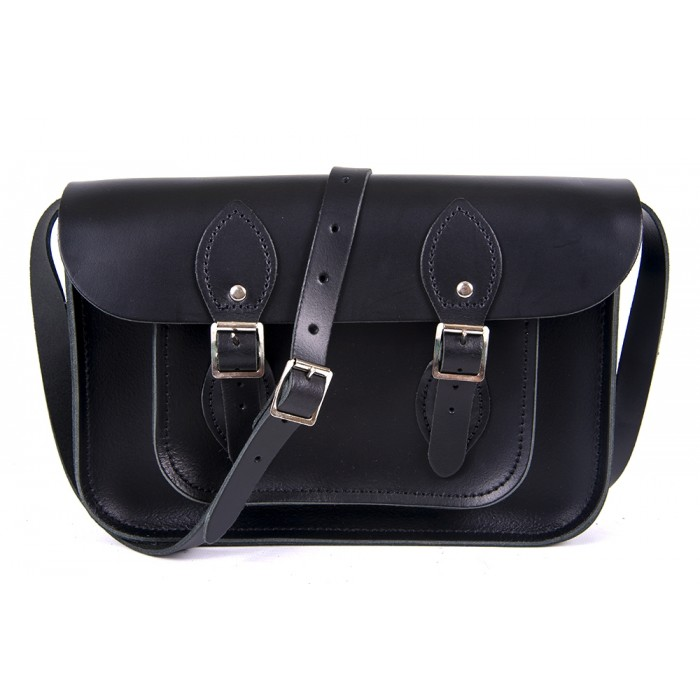 "11"" Black English Leather Satchel"