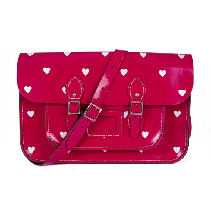 "14.5"" Cabaret Pink Patent White Heart English Leather Satchel"