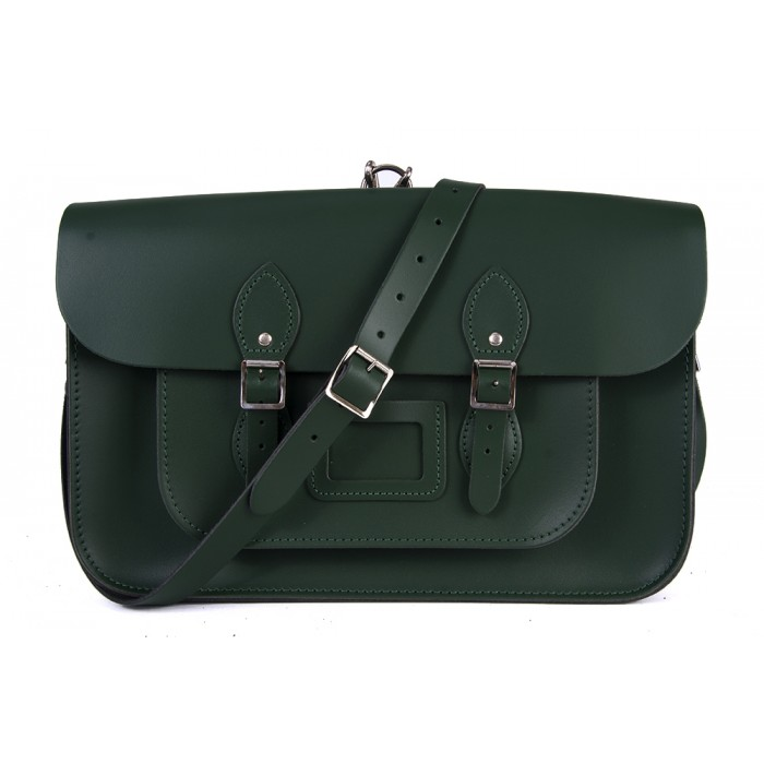 "15"" Racing Green English Leather Satchel - Backpack"