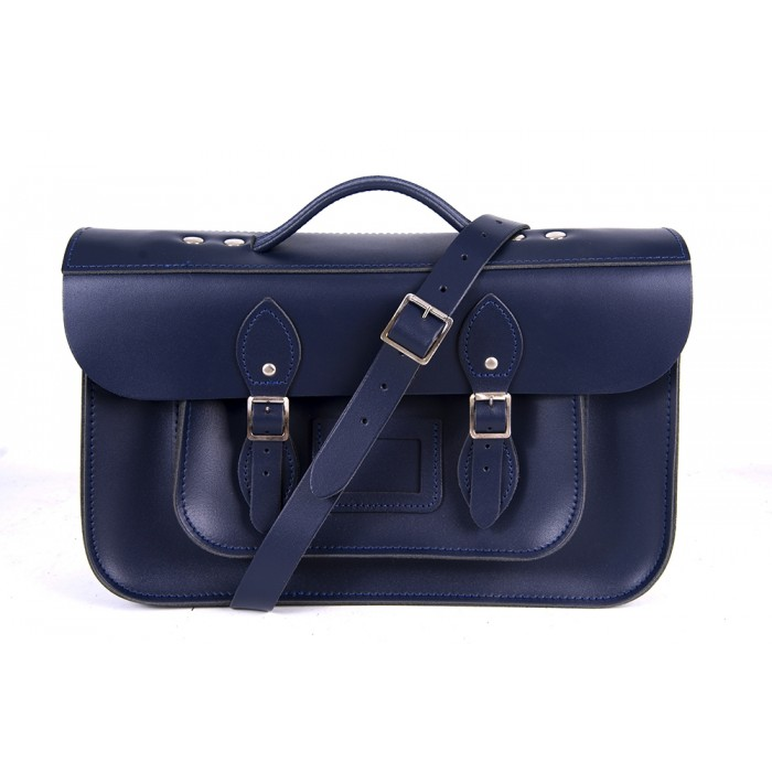 "15"" Navy Blue English Leather Satchel - Magnetic Briefcase"
