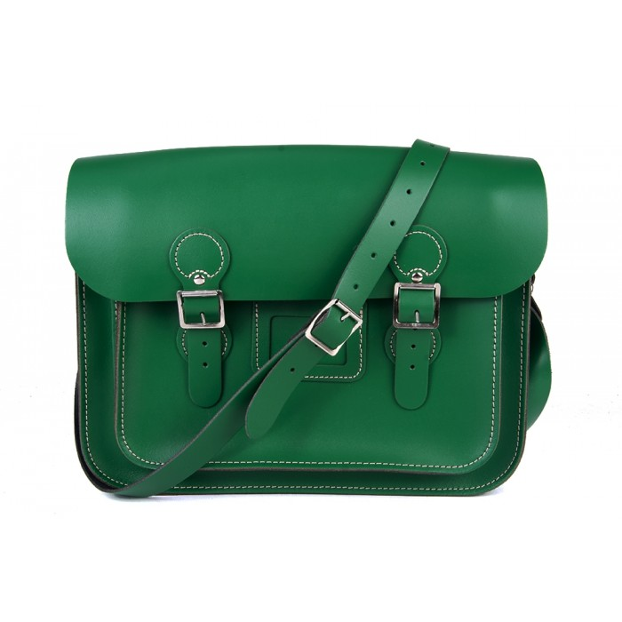 "13"" Sherwood Green English Leather Satchel - Circle"