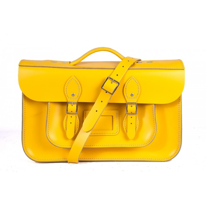 "15"" Double Yellow English Leather Satchel - Magnetic Briefcase"