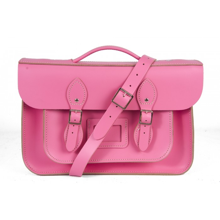 "15"" Pink English Leather Satchel - Magnetic Briefcase"