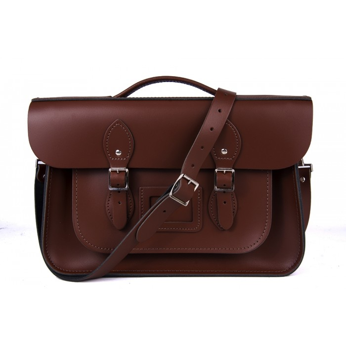 "14"" Chestnut Brown English Leather Satchel Briefcase"