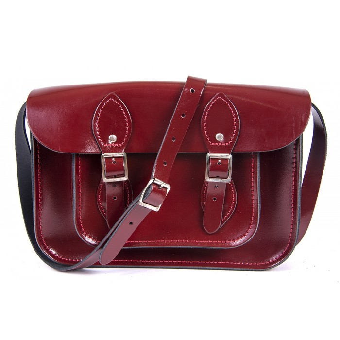 "11"" Oxblood Patent English Leather Satchel"