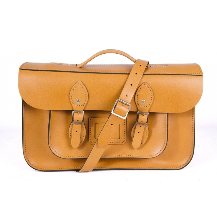 "15"" Yellow English Leather Satchel - Magnetic Briefcase"