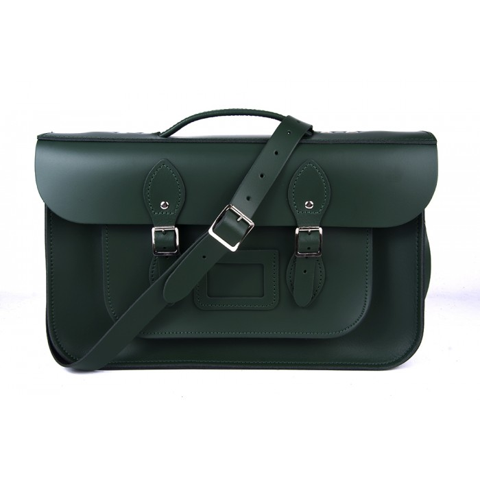 "14"" Dark Green English Leather Satchel Briefcase"
