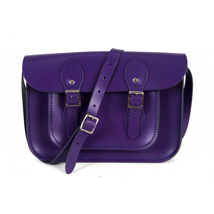 "11"" Royal Purple Patent English Leather Satchel"