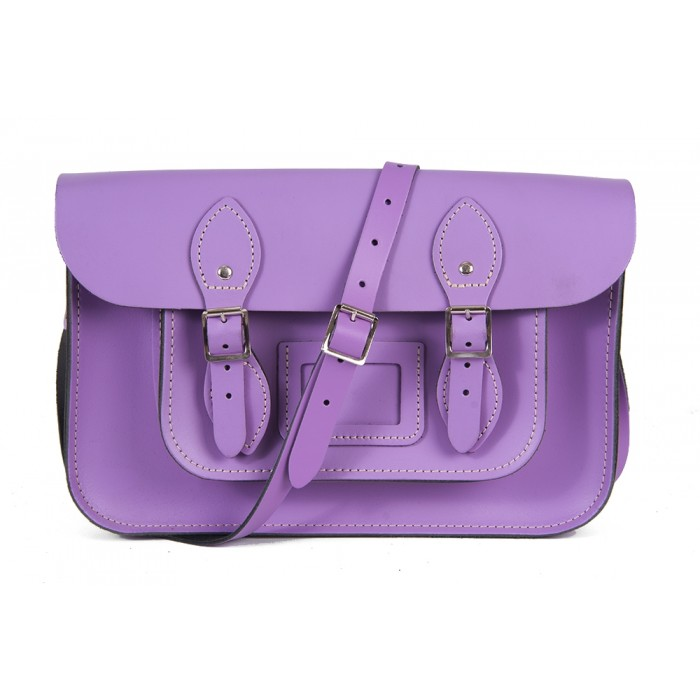 "12"" Light Purple Leather Satchel - Magnetic"