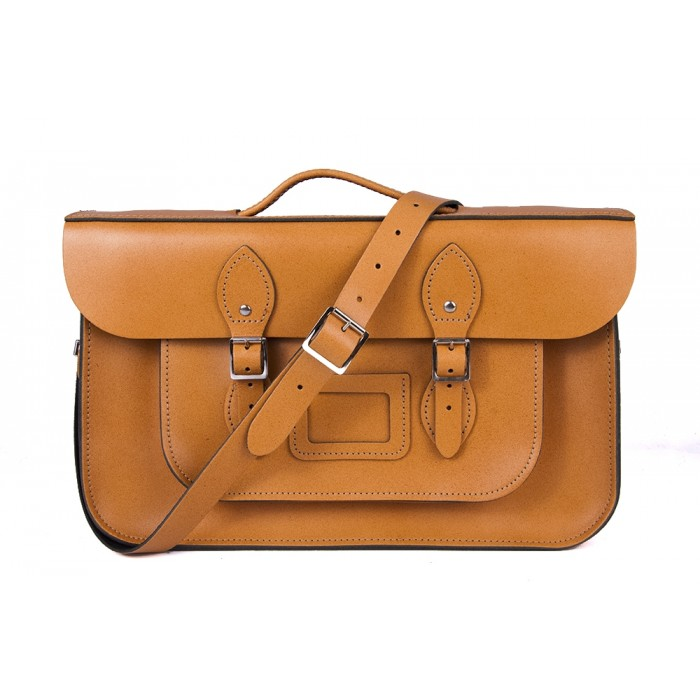 "15"" Autumn Tan English Leather Satchel - Briefcase"