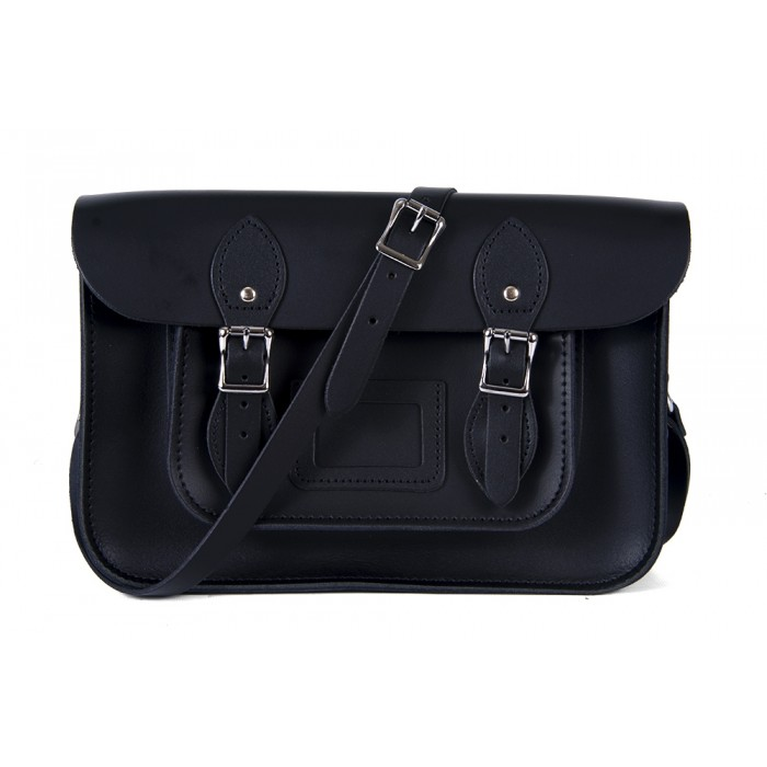 "11"" Black Magnetic English Leather Satchel"