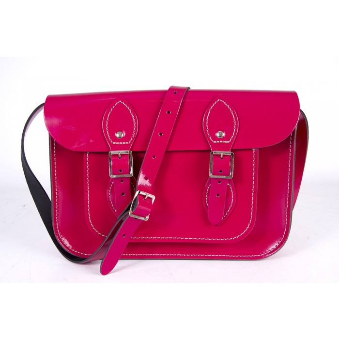 "11"" Cabaret Pink Patent English Leather Satchel"