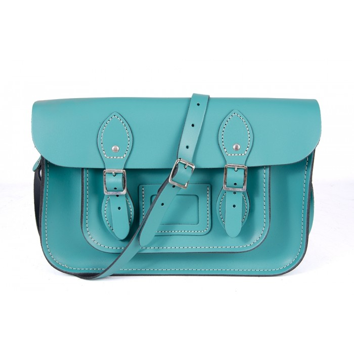 "15"" Cockatoo Blue English Leather Satchel - Magnetic"