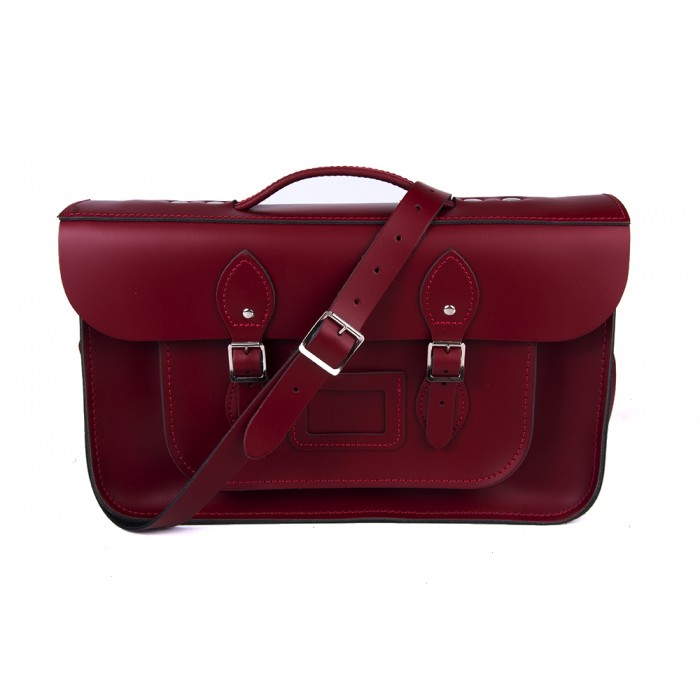 "14"" Red English Leather Satchel Magnetic Briefcase"