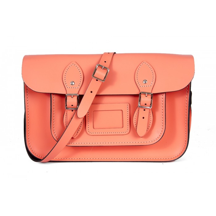 "12"" Salmon English Leather Satchel - Magnetic"
