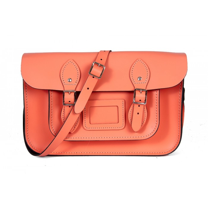 "15"" Salmon English Leather Satchel - Magnetic"