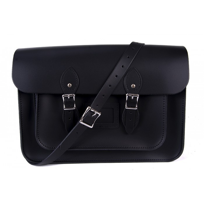 "15"" Black English Leather Satchel - Magnetic"