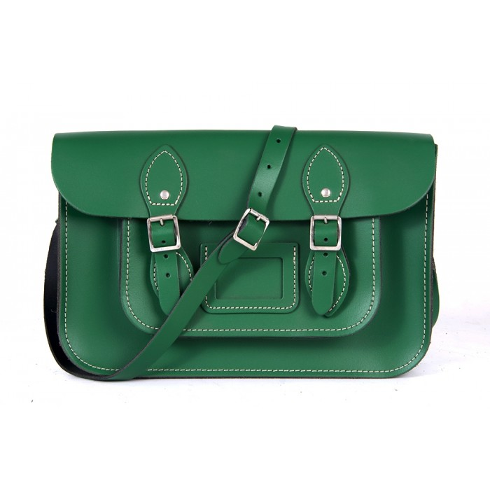 "12"" Sherwood Green English Leather Satchel - Magnetic"