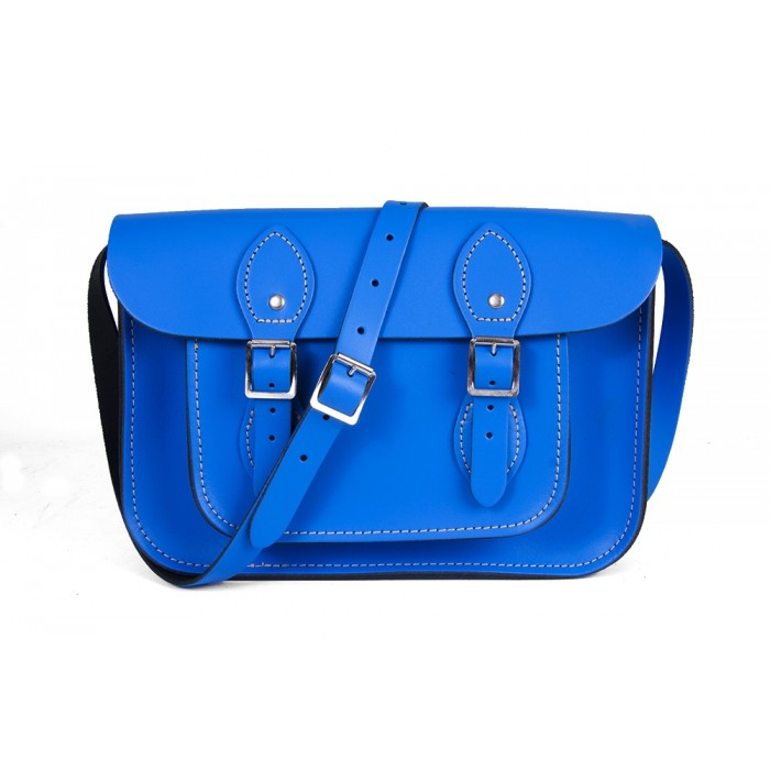 "11"" Oxford Blue English Leather Satchel"