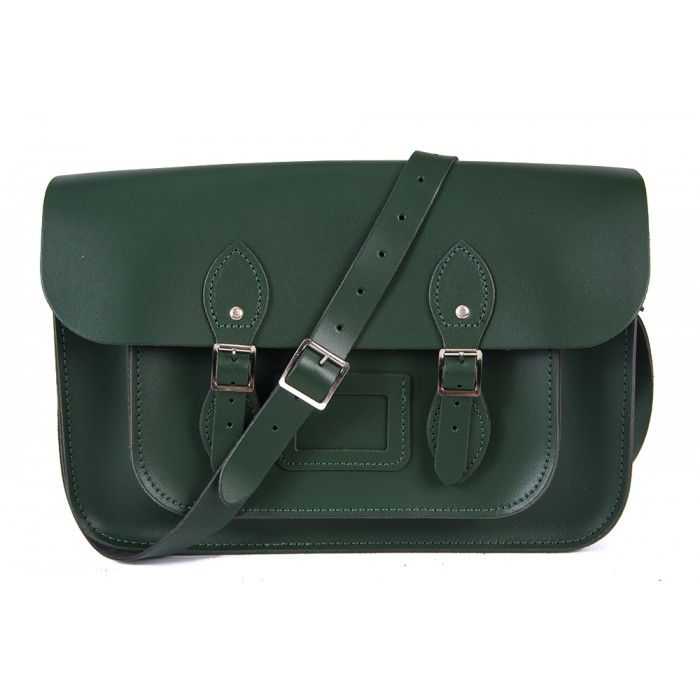 "15"" Racing Green English Leather Satchel - Magnetic"