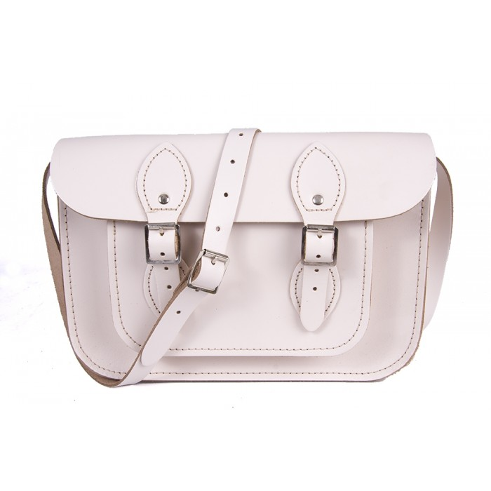 "11"" White English Leather Satchel"