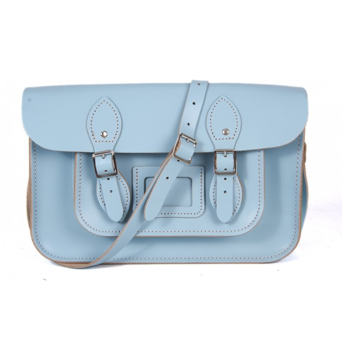 "15"" Baby Blue English Leather Satchel - Magnetic"