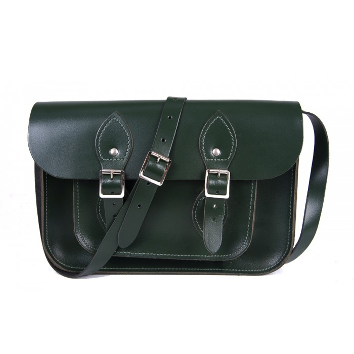 "11"" Racing Green English Leather Satchel"