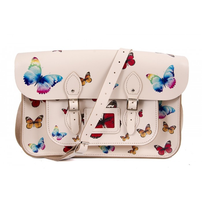 "15"" Cloud Cream Butterfly English Leather Satchel"