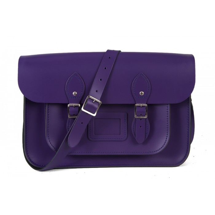 "15"" Purple English Leather Satchel - Magnetic"