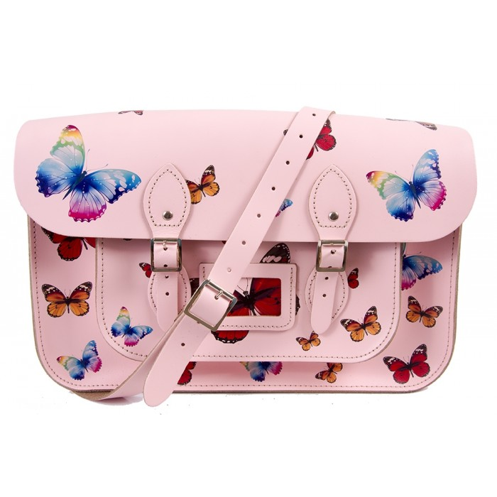 "15"" Pink Butterfly English Leather Satchel"