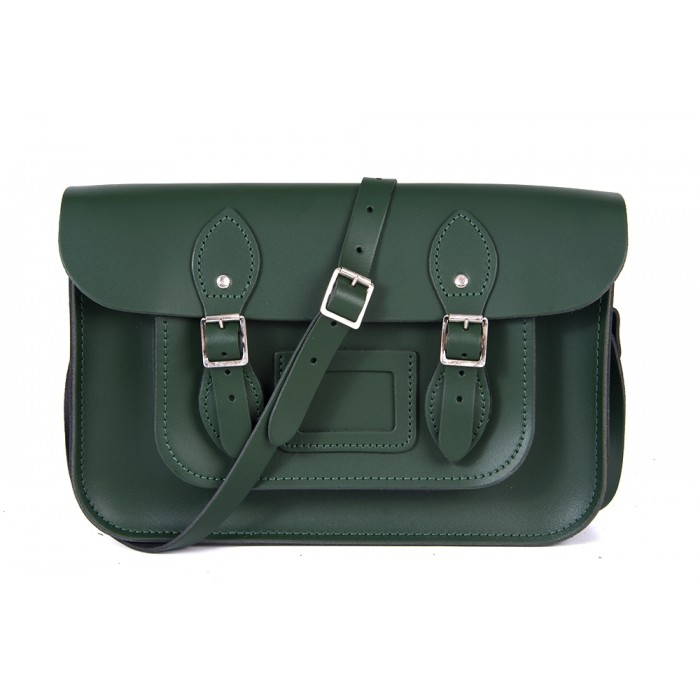 "12"" Racing Green English Leather Satchel - Magnetic"