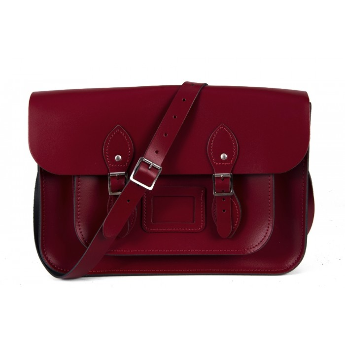 "15"" Dark Red English Leather Satchel - Magnetic"
