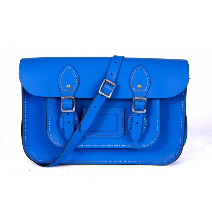 "12"" Oxford Blue English Leather Satchel - Magnetic"