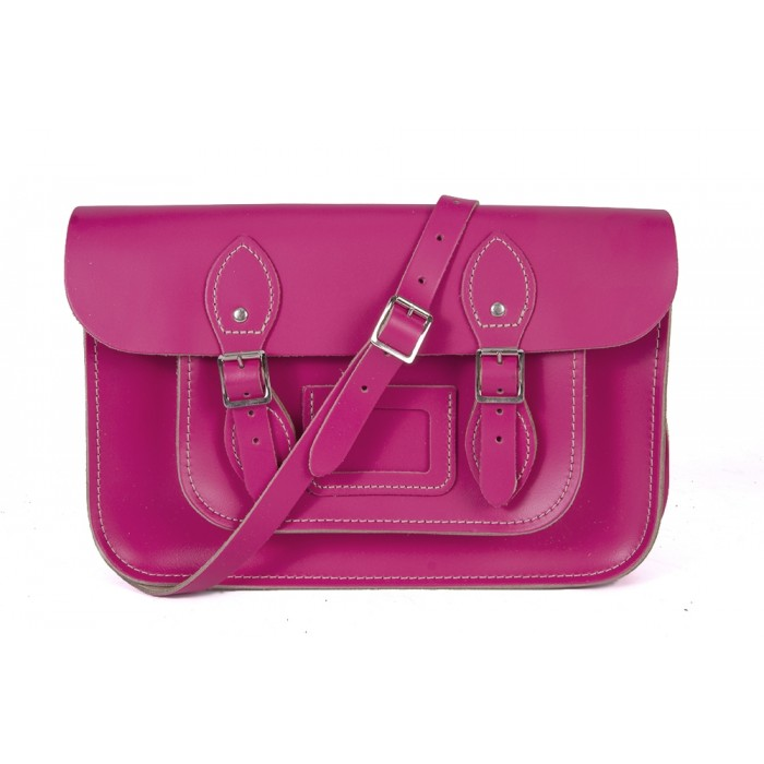 "15"" Cabaret Pink English Leather Satchel - Magnetic"