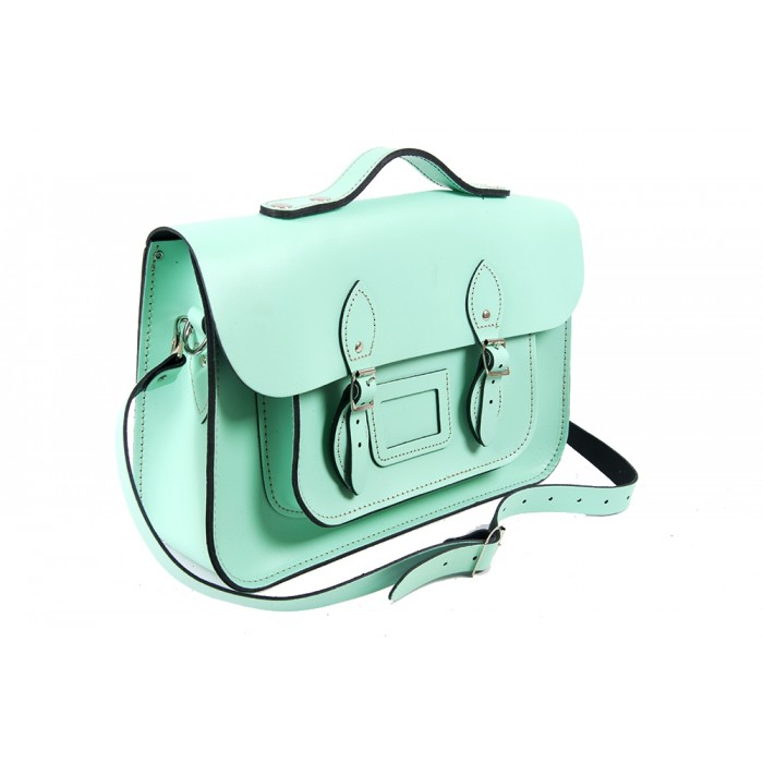 "15"" Mint Green English Leather Satchel - Magnetic Handleable"